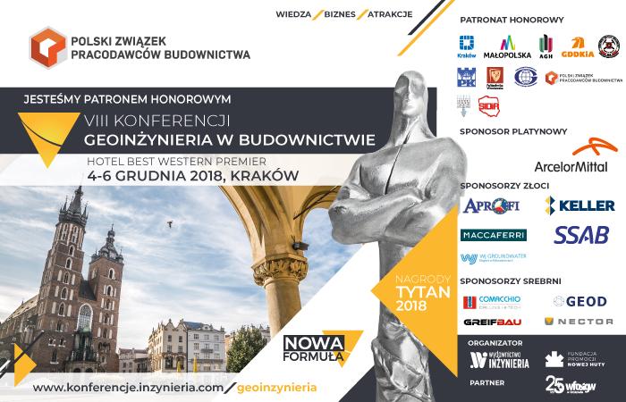 VIII Konferencja Geoinżynieria w budownictwie, 4-6 grudnia, Kraków